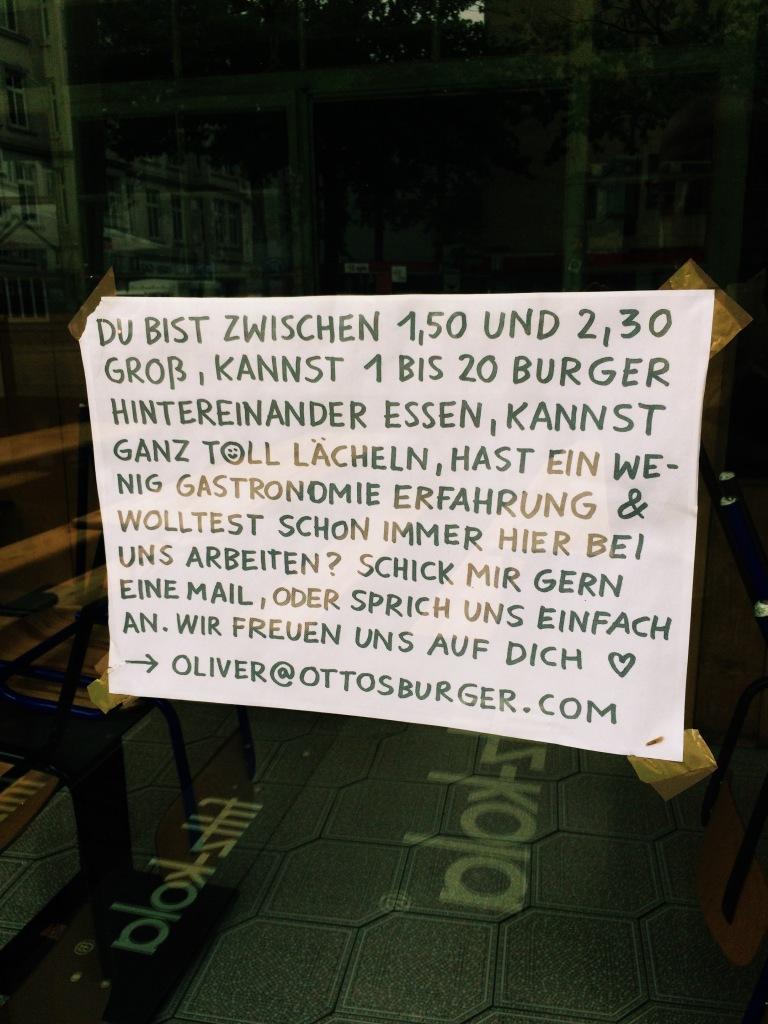 Stellenanzeige Ottos Burger